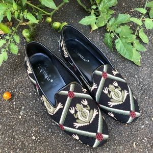 A MARINELLI Tapestry Flats Loafers Frogs Ladybugs